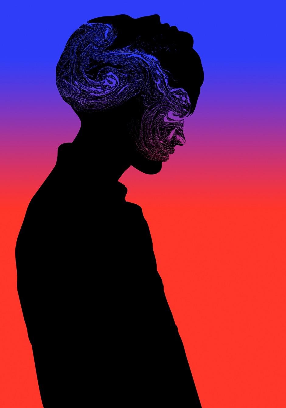 illustration, illustrations, illustrator, illustrators, woman, women, stand, standing, gradient, swirl, swirling, texture