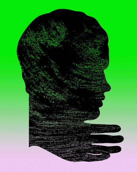 illustration, illustrations, illustrator, illustrators, hand, hands, head, heads, profile, side view, gradient, float, floating