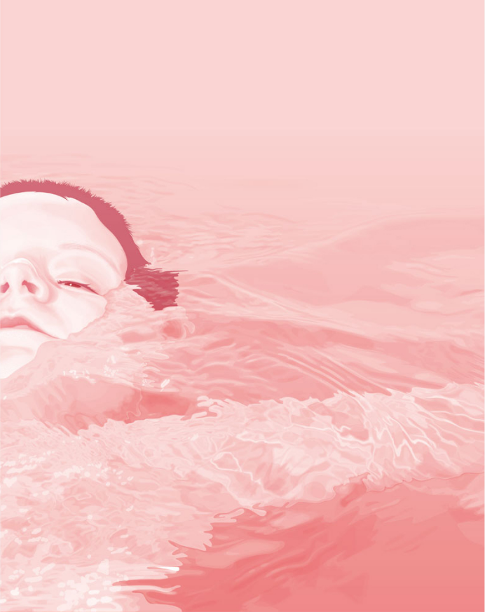 illustration, illustrations, illustrator, illustrators, boy, boys, child, children, kid, kids, girl, girls, water, waves, liquid, float, floating, head, heads, face, faces, pink