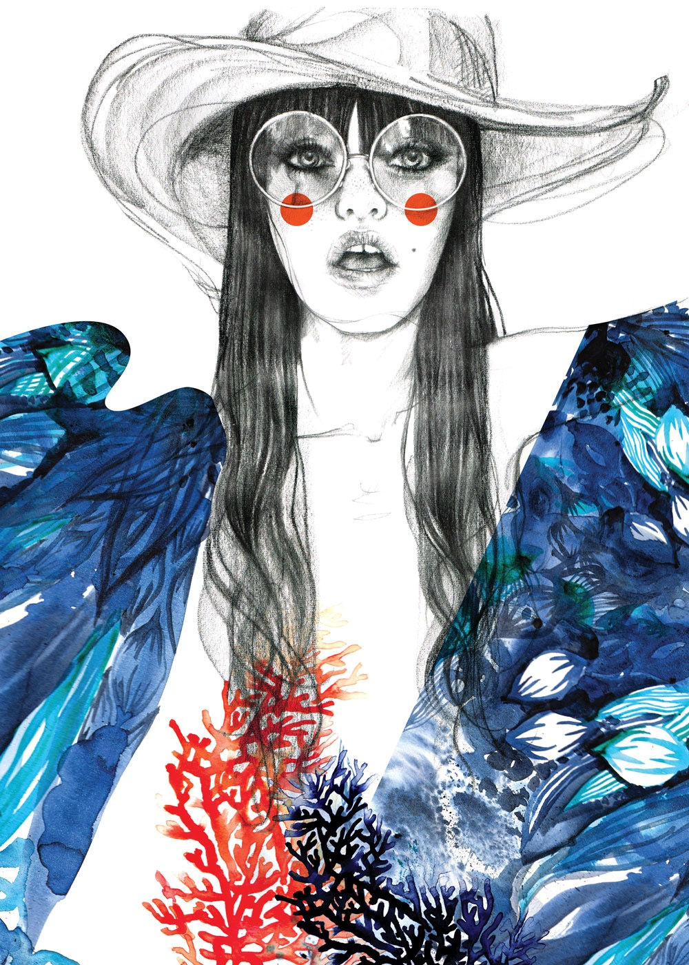 illustrator, illustrators, illustration, illustrations, woman, women, hat, hats, glasses, coral, robe, blush, fashion, water, ocean