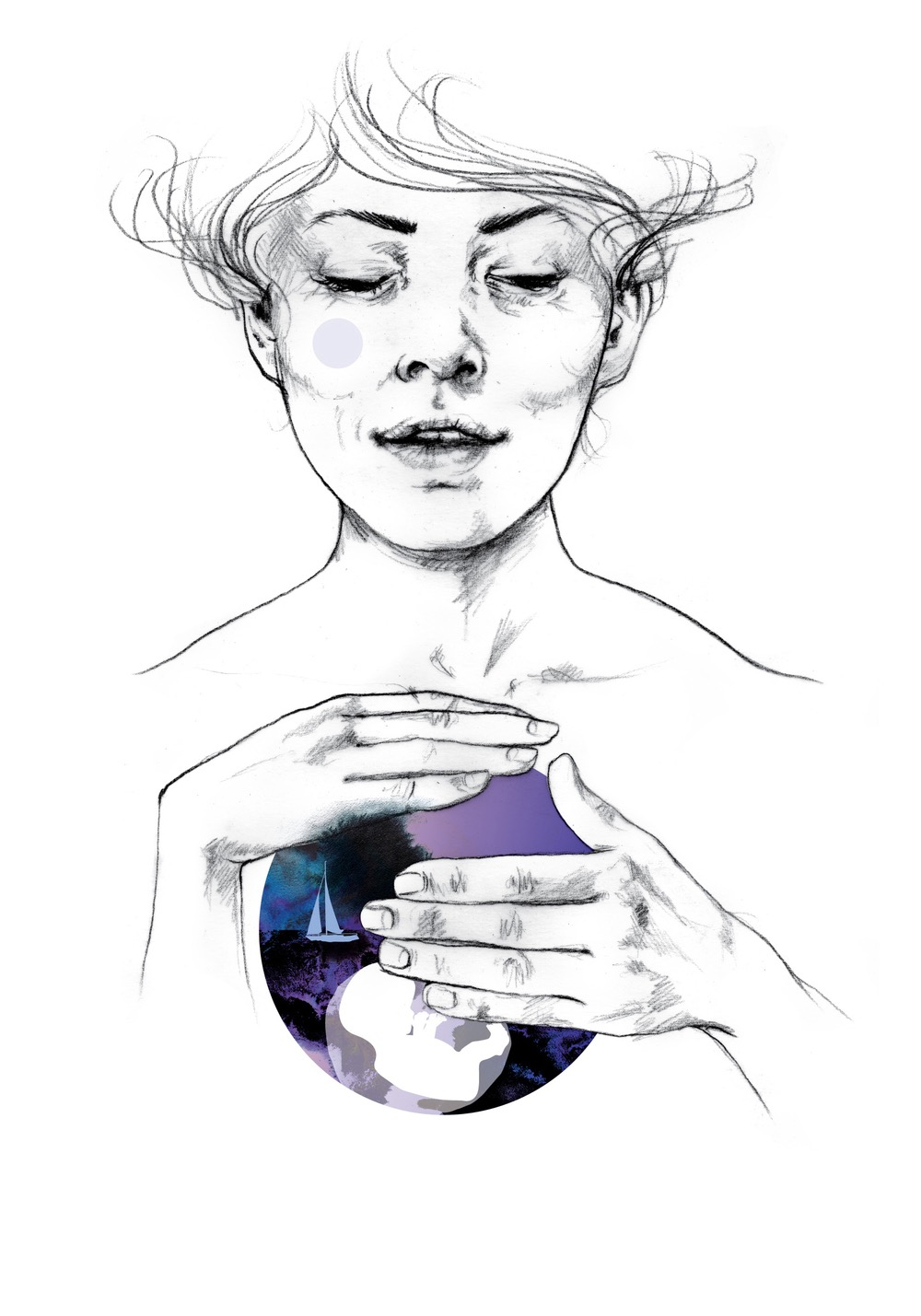 illustrator, illustrators, illustration, illustrations, woman, women, world, globe, boat, boats, hand, hands, hold, holding, simple, outline