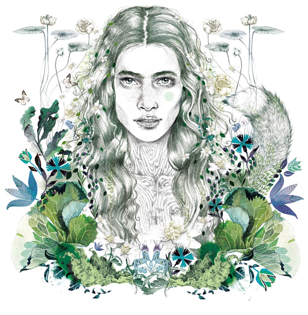 illustrator, illustrators, illustration, illustrations, floral, flower, flowers, plant, plants, woman, women, bloom, blooming, fox, tail, butterfly, butterflies, symmetry, symmetrical