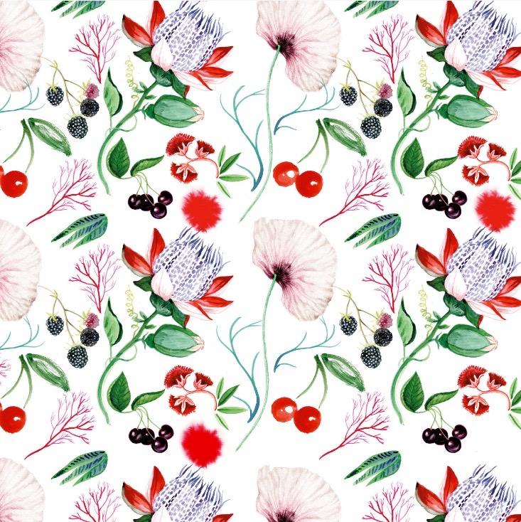 illustrator, illustrators, illustration, illustrations, floral, flower, flowers, plant, plants, cherry, fruit, pattern, composition
