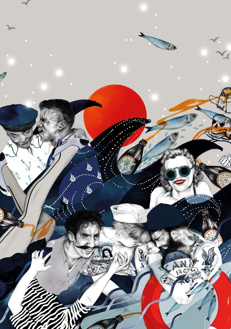 illustrator, illustrators, illustration, illustrations, sailor, sailors, fish, ocean, water, tattoo, woman, women, man, men, sunglasses, anchor, anchors, dice, skull, skulls, bird, birds