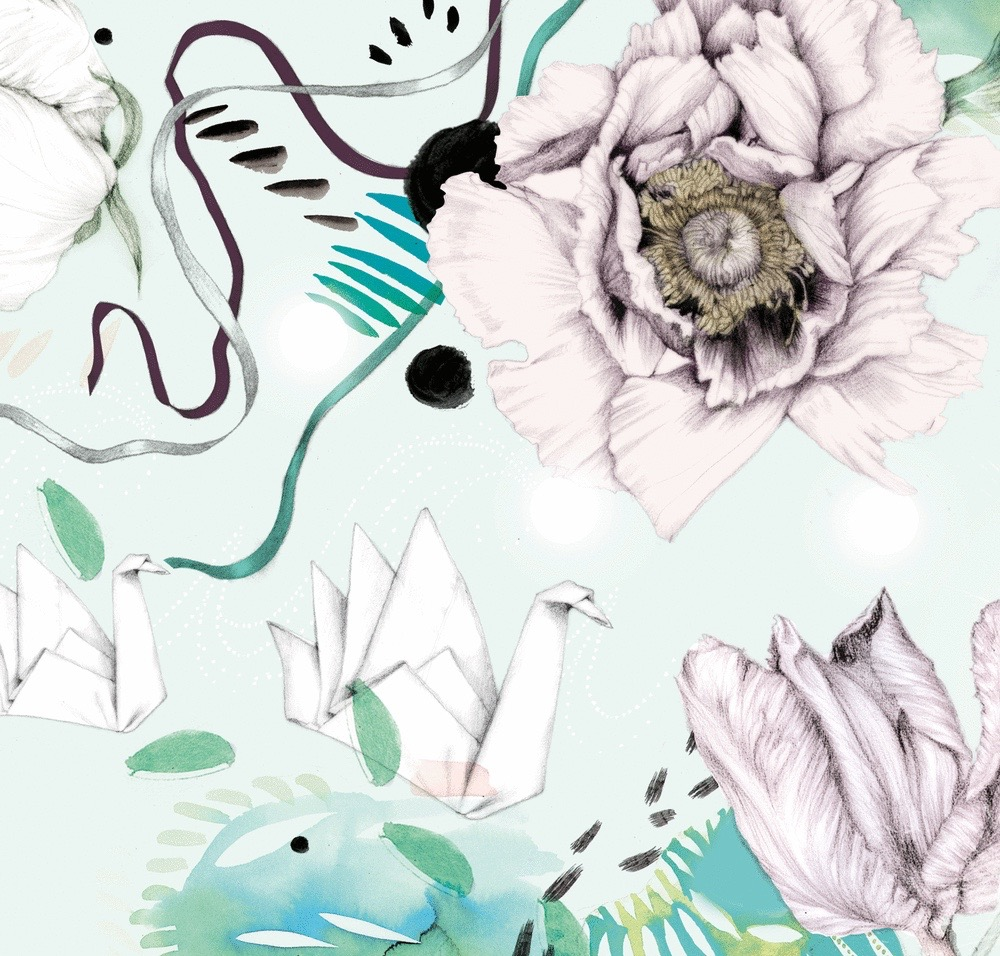 illustrator, illustrators, illustration, illustrations, paper crane, paper, flower, flowers, flourish, flourishes, composition, brushstroke, brushstrokes