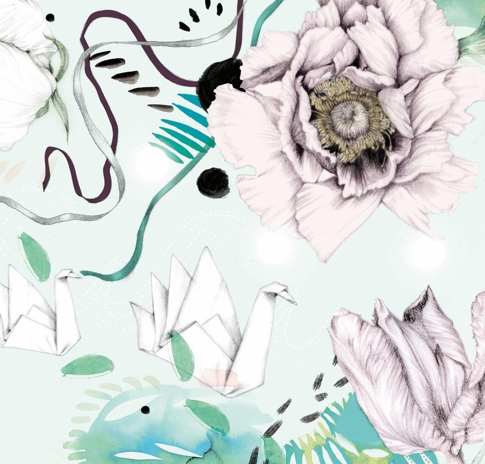 illustrator, illustrators, illustration, illustrations, paper crane, paper, flower, flowers, flourish, flourishes, composition, brushstroke, brushstrokes