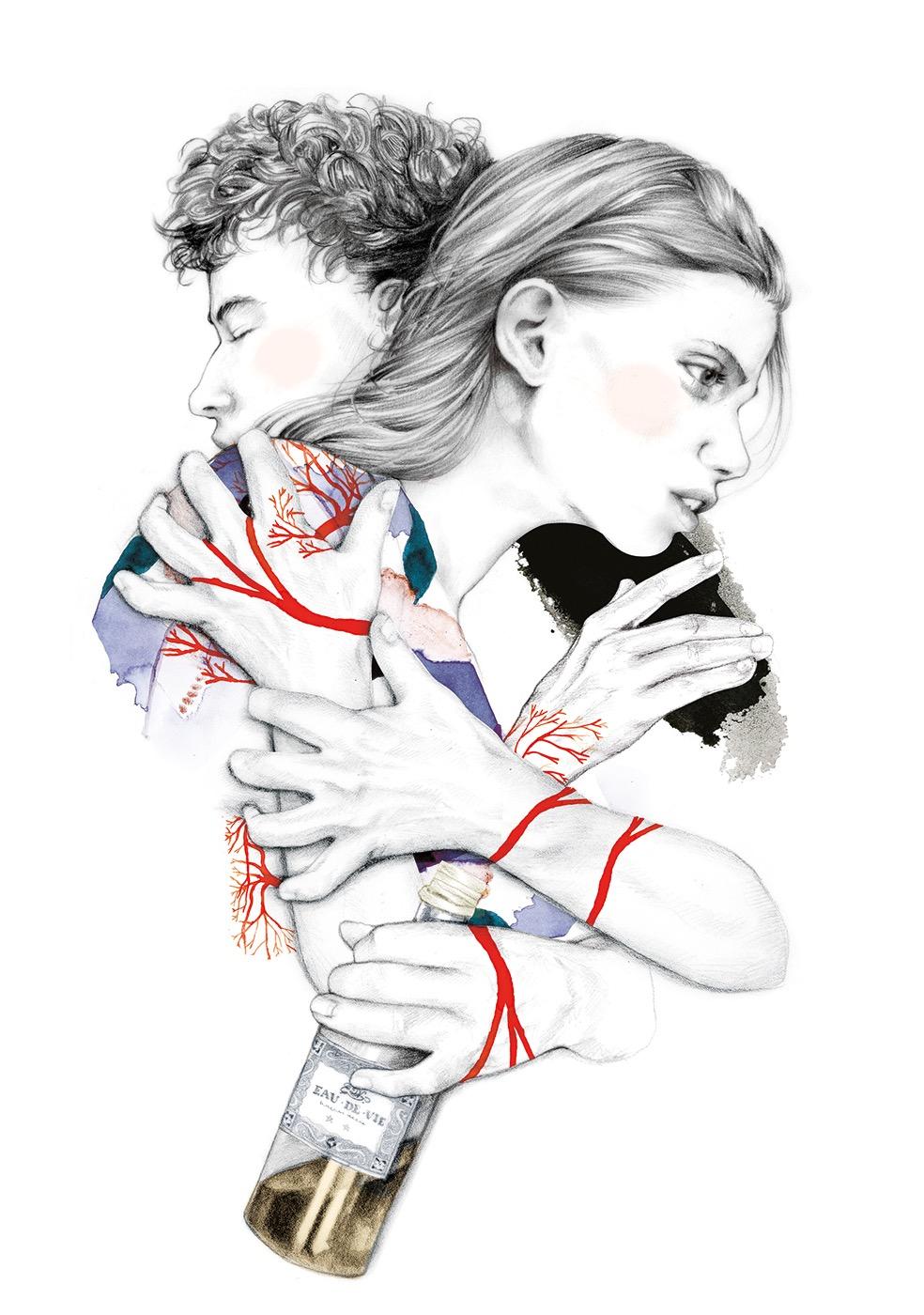 illustrator, illustrators, illustration, illustrations, woman, women, man, men, embrace, embracing, hug, hugging, alcohol, drink, bottle, branch, branches, plant, plants
