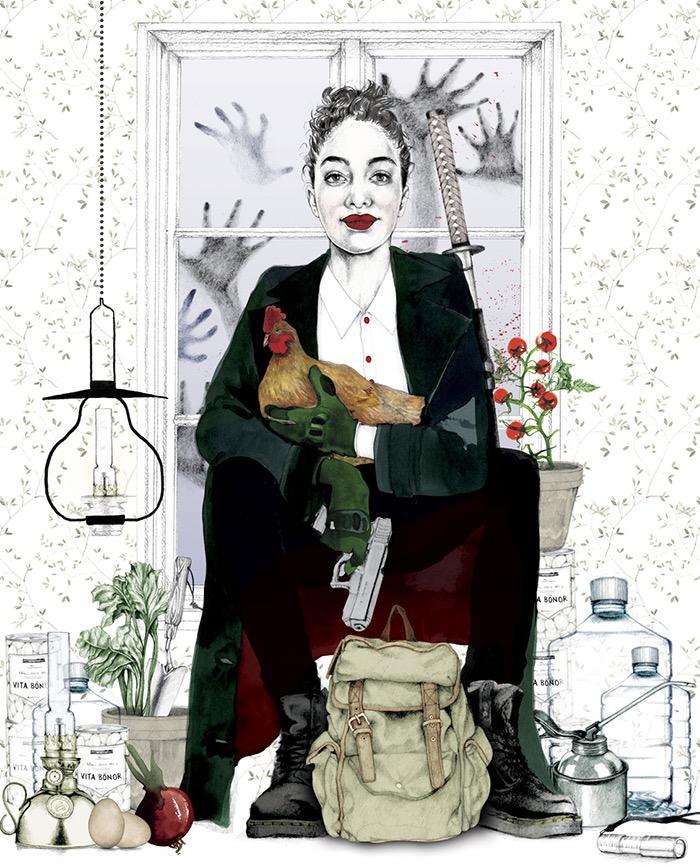 illustrator, illustrators, illustration, illustrations, woman, women, boots, water, vegetables, chicken, hands, hand, window, flower, flowers, floral, gun, smile, smiling