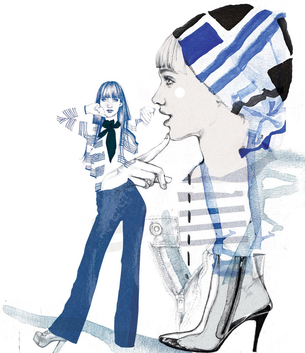 illustrator, illustrators, illustration, illustrations, woman, women, scarf, headscarf, shoe, shoes, denim, pants, 70s, composition