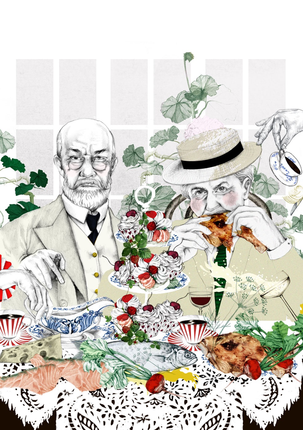 illustrator, illustrators, illustration, illustrations, man, men, woman, women, eating, couple, tea, wine, beverages, lace, doily, leaf, leaves, fish, glasses, suit, hat, hats, cup, cups, cupcake, cupcakes