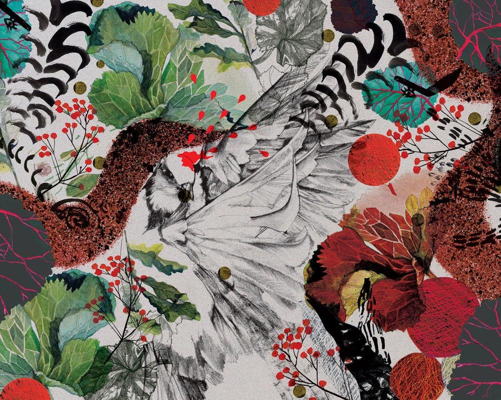 illustrator, illustrators, illustration, illustrations, flower, floral, composition, yarn, texture, leaf, leaves, bird, birds, brushstrokes, berries