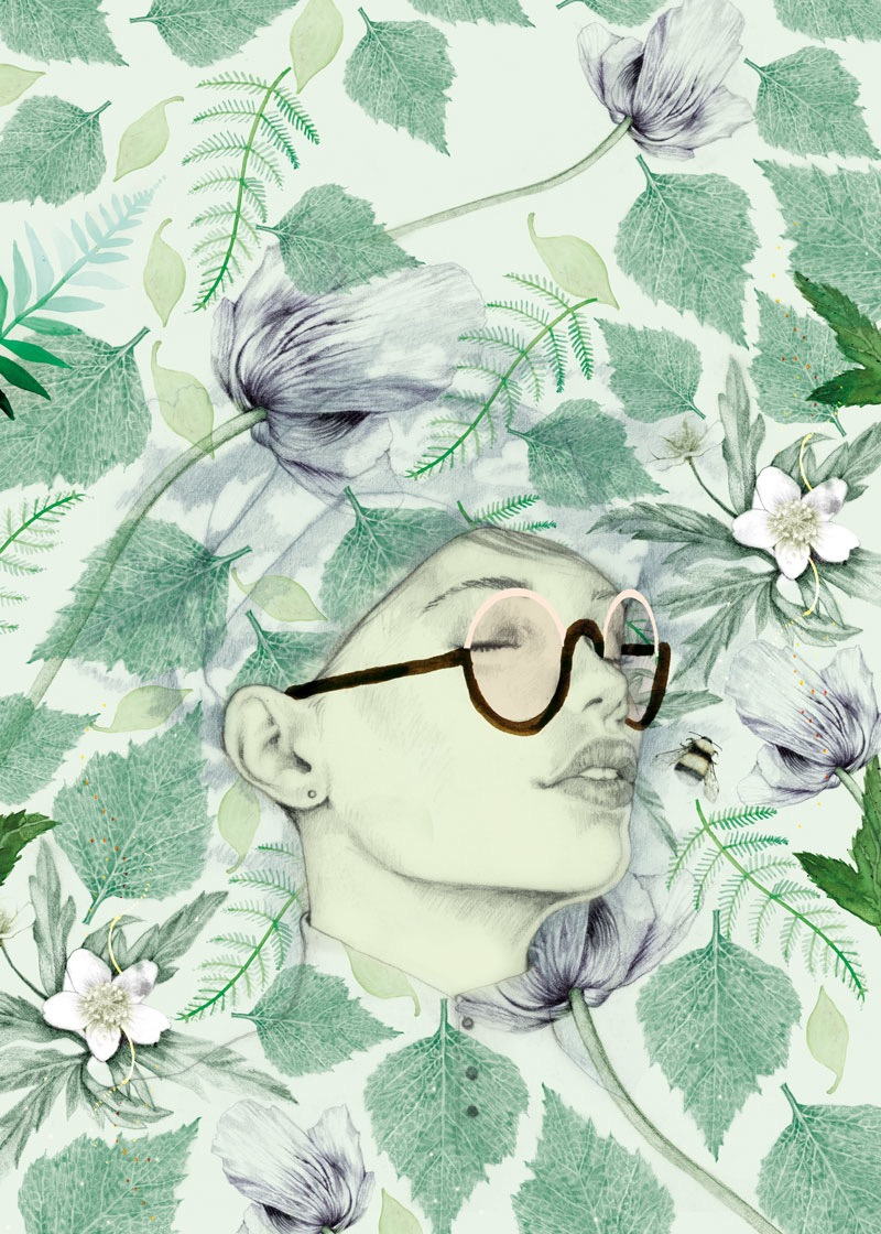illustrator, illustrators, illustration, illustrations, root, roots, fern, flower, flowers, egg, eggs, button, buttons, glasses, floral, brushstrokes, brushstroke, bird, birds, found objects, composition, woman, women, dream, bee, bees