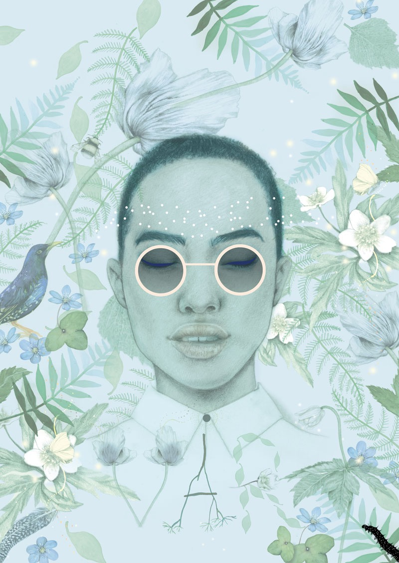 illustrator, illustrators, illustration, illustrations, root, roots, fern, flower, flowers, floral, insects, insect, bug, sunglasses, typographic, found objects, composition, woman, women