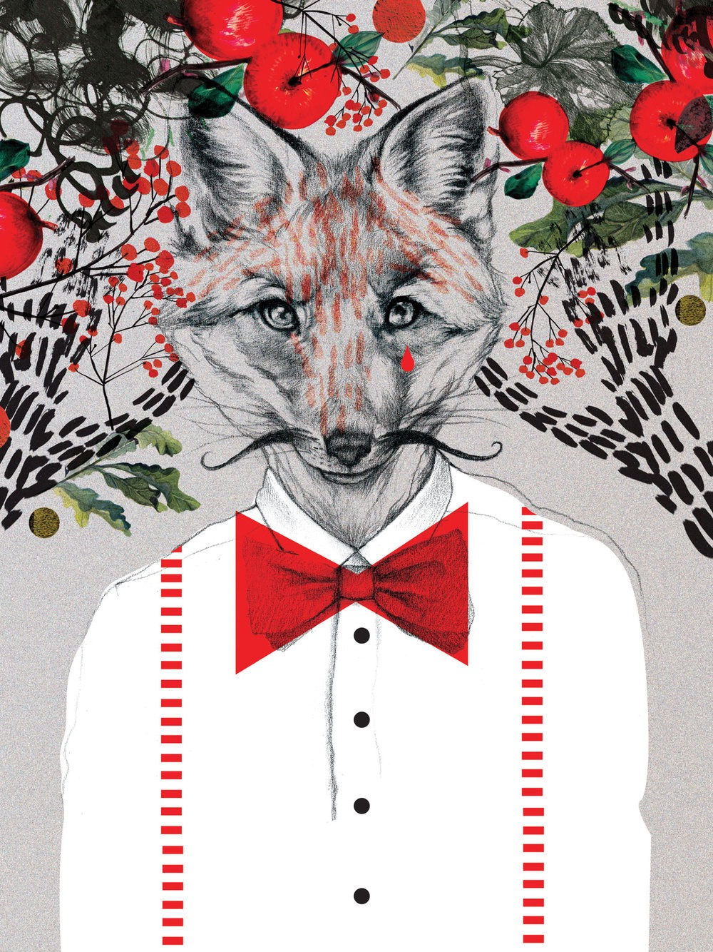 illustrator, illustrators, illustration, illustrations, apples, apple, tree, trees, accent color, accent, contrast, floral, branches, leaf, leaves, fox, mustache, bowtie, tear, cry, crying