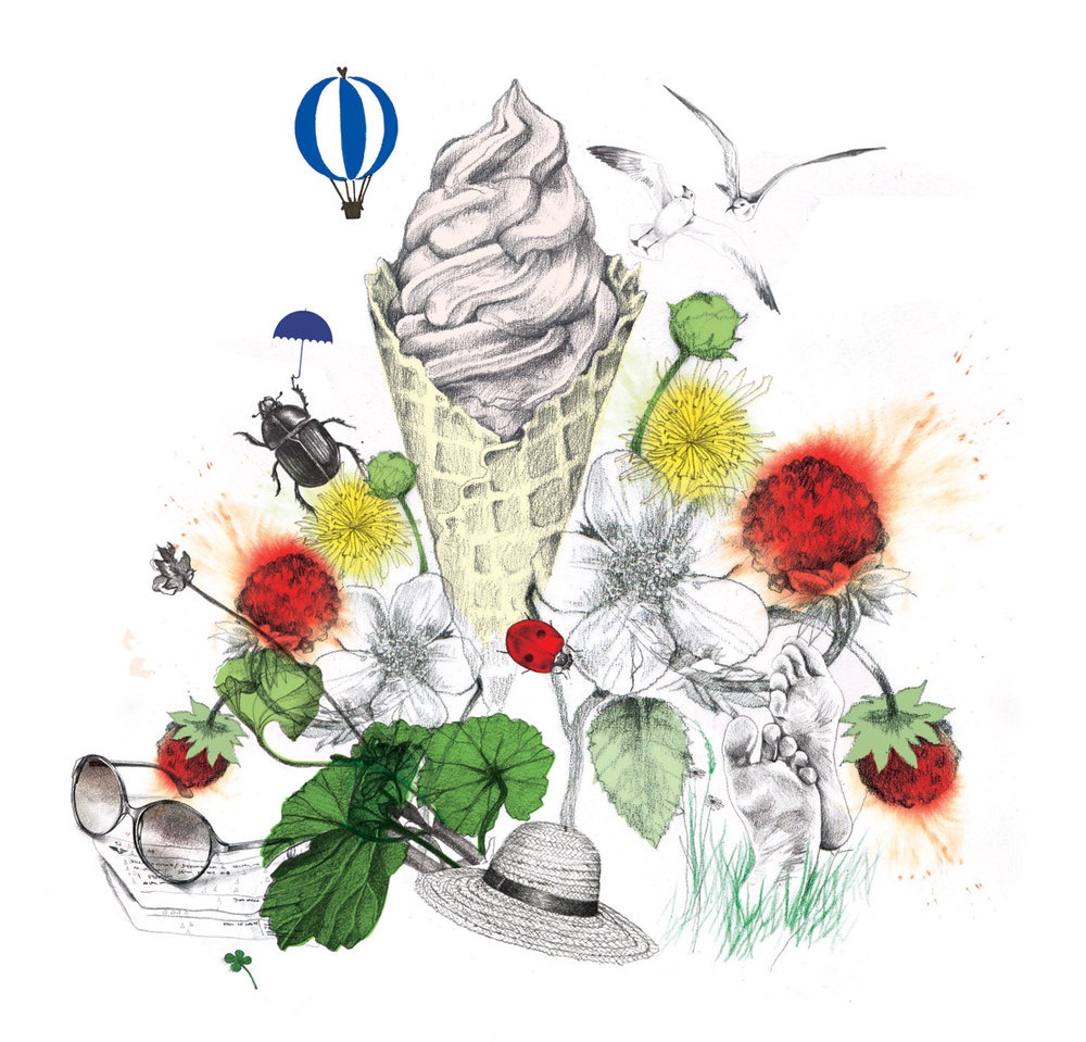 illustrator, illustrators, illustration, illustrations, ice cream, summer, bird, birds, balloon, balloons, bug, bugs, insect, insects, flower, flowers, bloom, blooming, feet, foot, sunglasses, ladybug, ladybugs, springtime, spring, grass