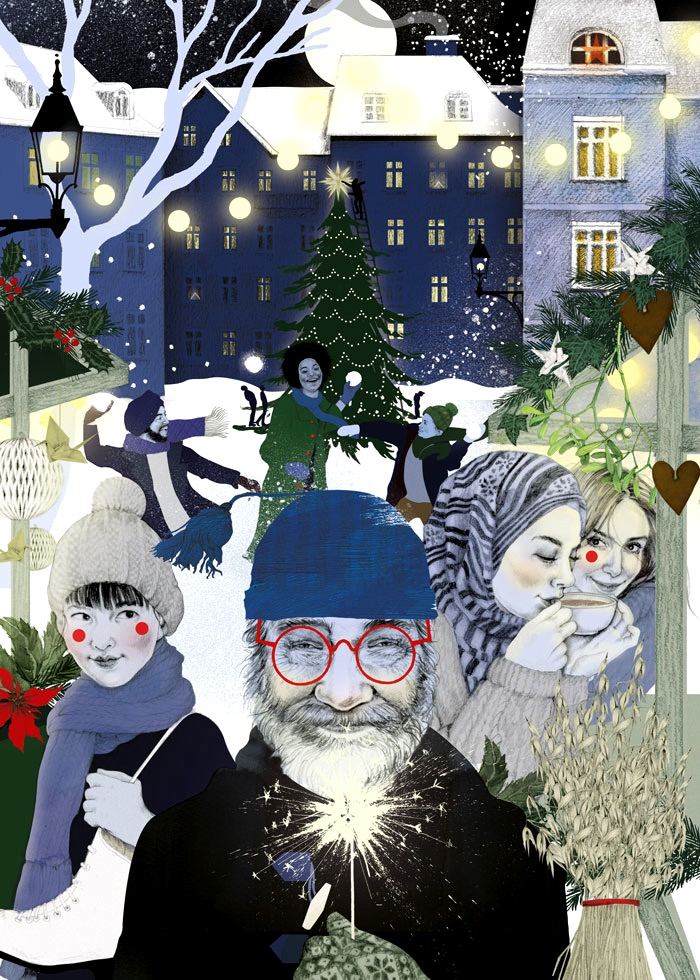 illustrator, illustrators, illustration, illustrations, scene, nighttime, night, moon, stars, house, houses, neighborhood, winter, cold, happy, joy, community, coffee, glasses, sparkler, festive, snow, snowing, holiday