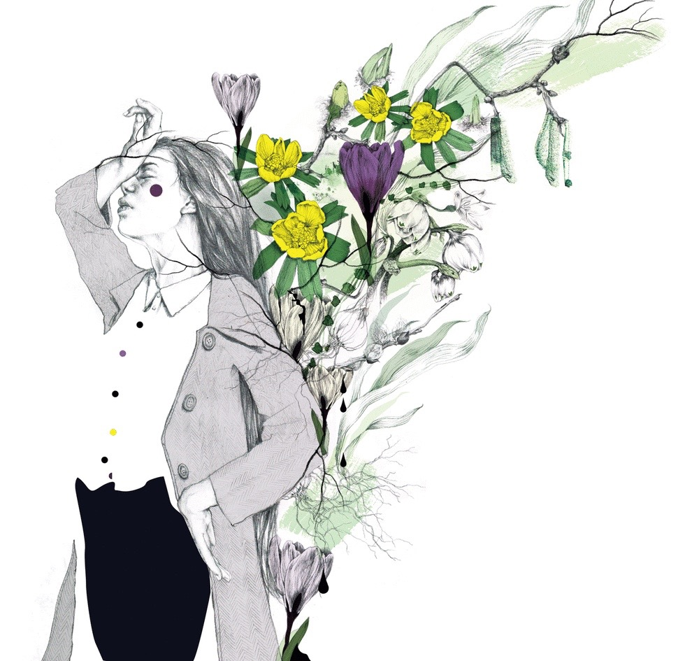 illustrator, illustrators, illustration, illustrations, woman, women, flower, flowers, bloom, blooming, pose, posing, thoughtful, branch, branches, floral