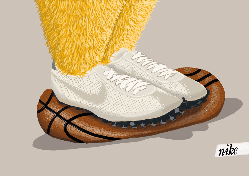 illustration, illustrations, illustrator, illustrators, texture, fur, nike, monster, monsters, basketball, basketballs, sneaker, sneakers, shoe, shoes