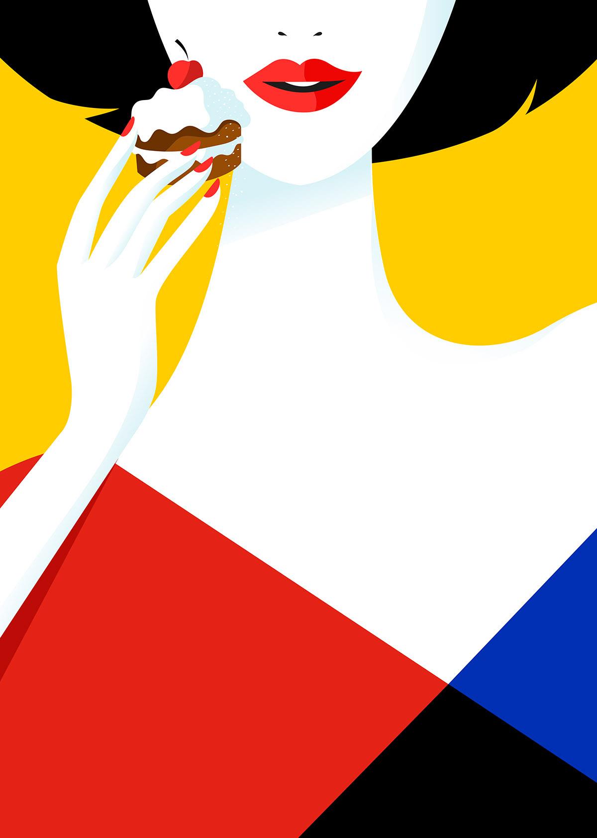 Digital Painting Elegant vector fashion woman