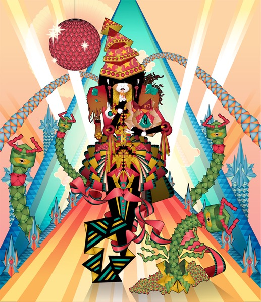 abstract fantastic psychedelic vector divinity god japanese geometric surrealistic origami japanese transformation doll lamp snake diamant symmetric
