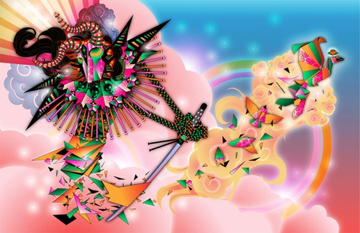 abstract fantastic psychedelic vector divinity god warrior fantastic japanese geometric surrealistic saber