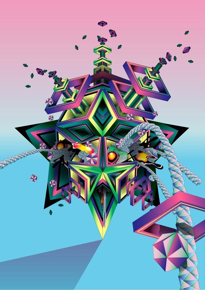 Vector Surrealistic Futuristic Fantastic explosion geometric diamant