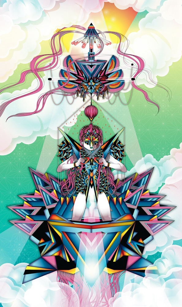 Vector Surrealistic Futuristic Fantastic god godess divinity geometric clouds