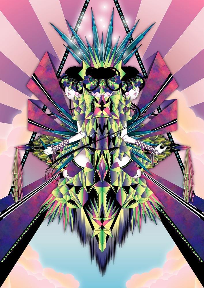Vector Surrealistic Futuristic Fantastic god godess divinity geometric origami japanese geisha