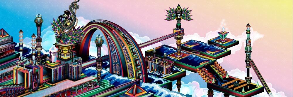 Vector Surrealistic Futuristic Fantastic god godess divinity geometric origami japanese geometric architecture