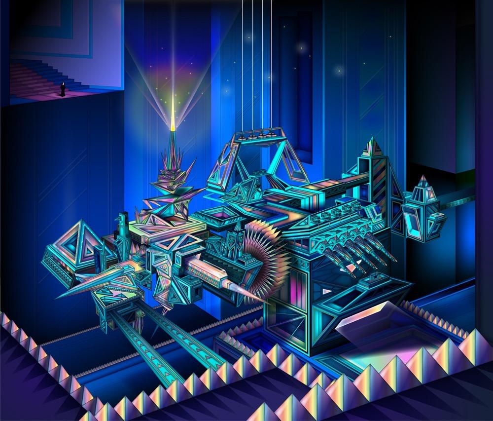 Vector Surrealistic Futuristic Fantastic geometric geometric architecture star stars stairs