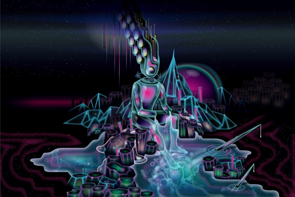 Vector Surrealistic Futuristic Fantastic space abstract god divinity goddess mountains
