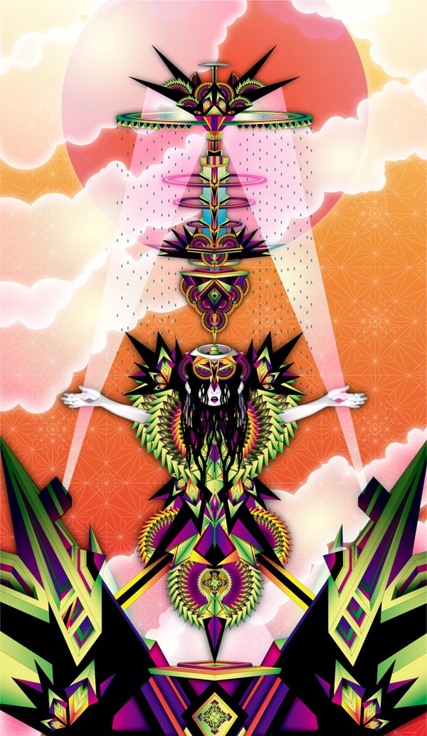 Vector Surrealistic Futuristic Fantastic god goddess divinity geisha clouds origami japanese rain