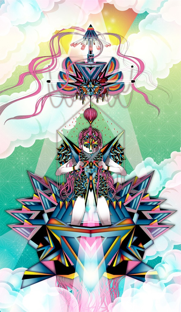 Vector Surrealistic Futuristic Fantastic god goddess divinity geisha clouds origami japanese rain diamant