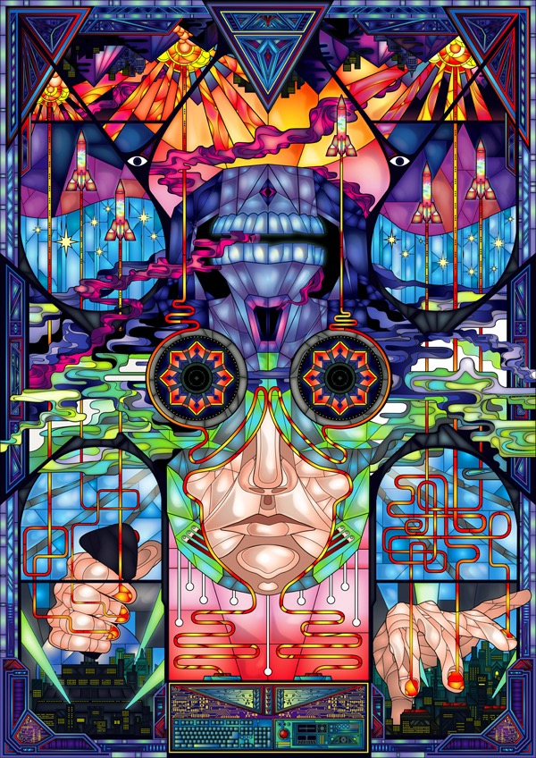 Vector Surrealistic Futuristic Fantastic stained-glass window rocket eyes face