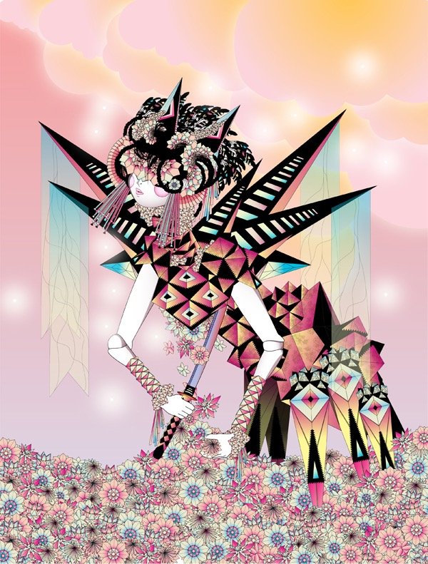 Vector Surrealistic Futuristic Fantastic god goddess divinity geisha sword suicide flowers flower death origami japanese