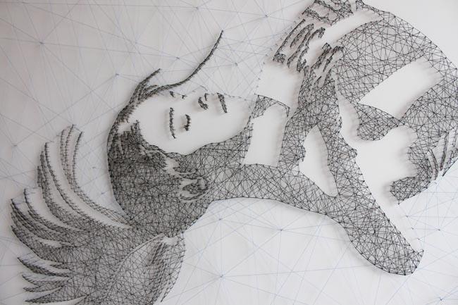 thread threadart handcraft lines line geometric woman face