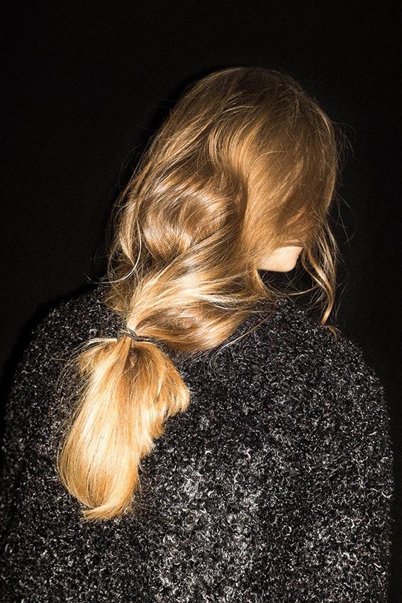 people woman women blond hair dark night backhead back head