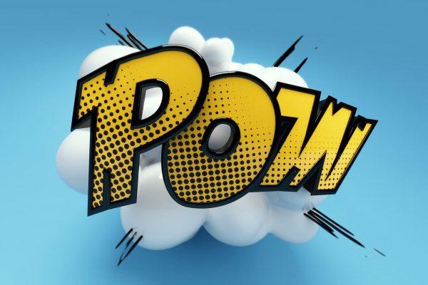 Onomatopoeia Pow comic cartoon typo typography font slang 3D explosion
