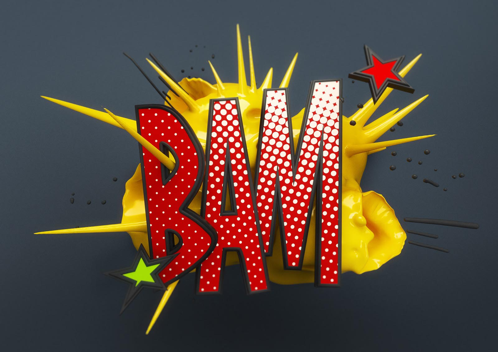 Onomatopoeia bam comic cartoon typo typography font slang 3D explosion
