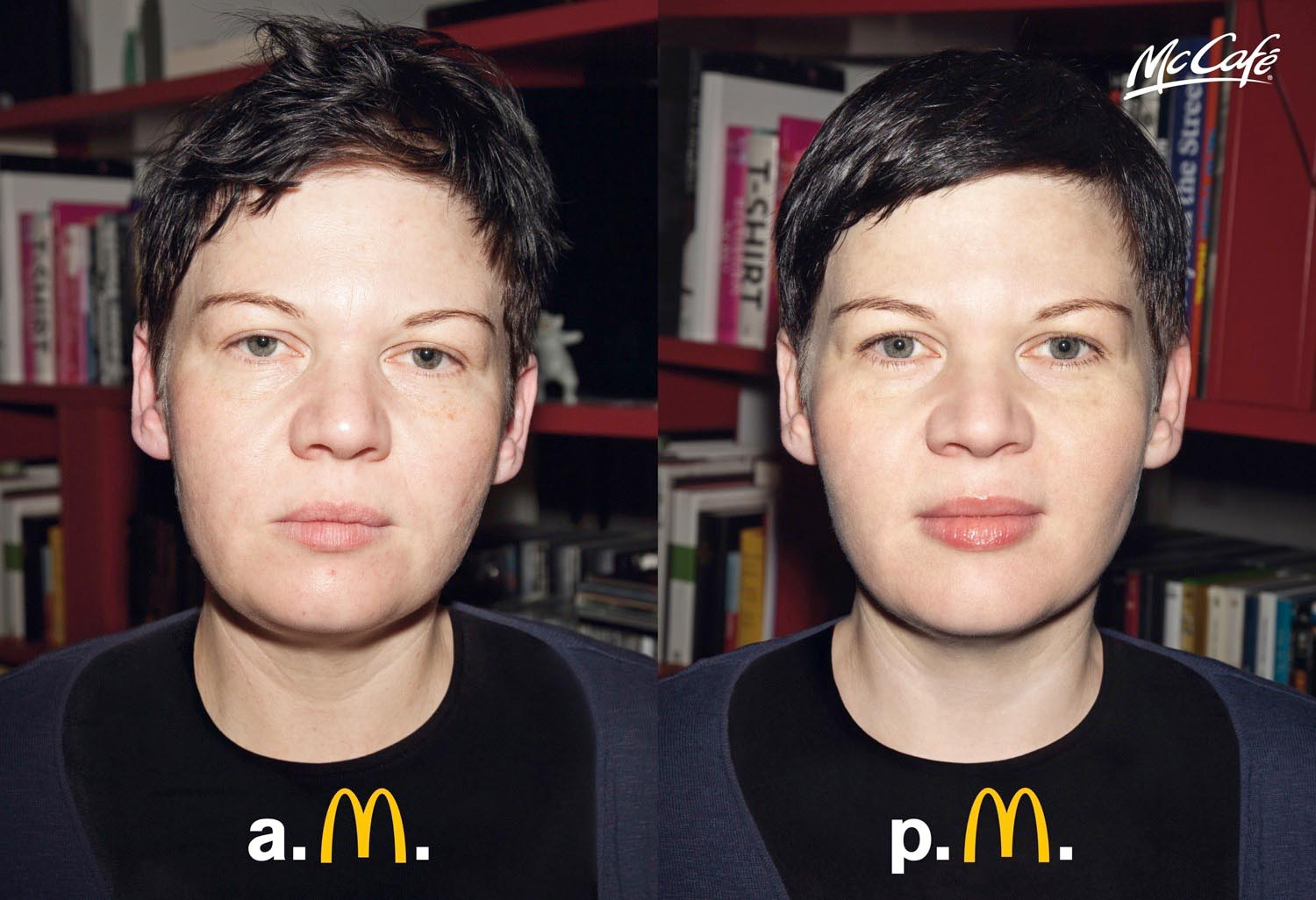 portrait face woman women morning tired sleep mc donald's mcdonald mcdonalds