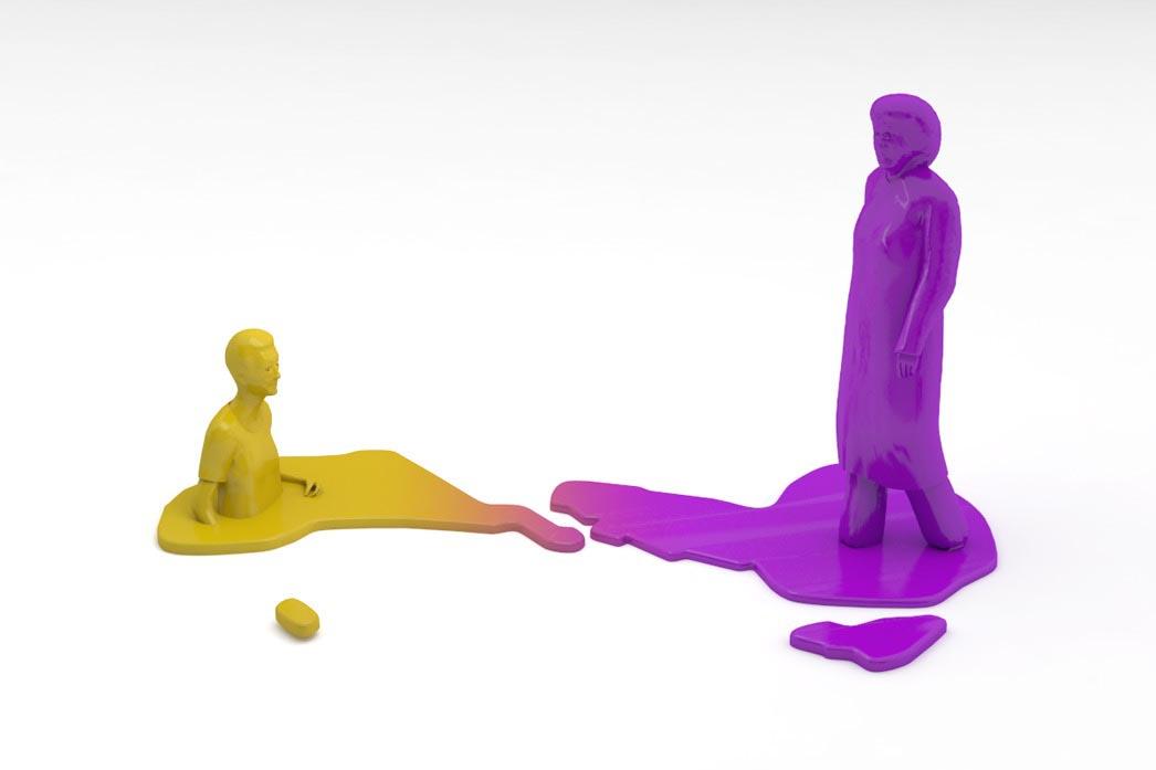 man blob melt melting dissolve dissolving 3D character Men