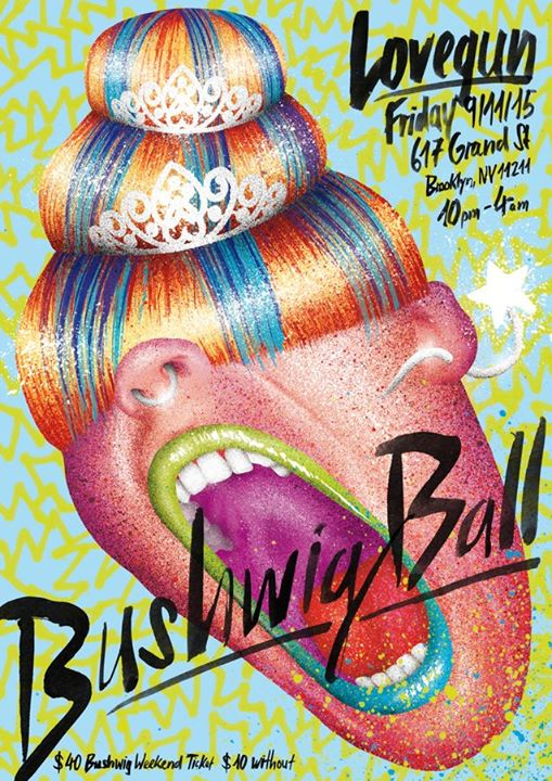 psychedelic punk watercolor digitally colored typography lovegun friday Bushwig Ball mouth shout shouting