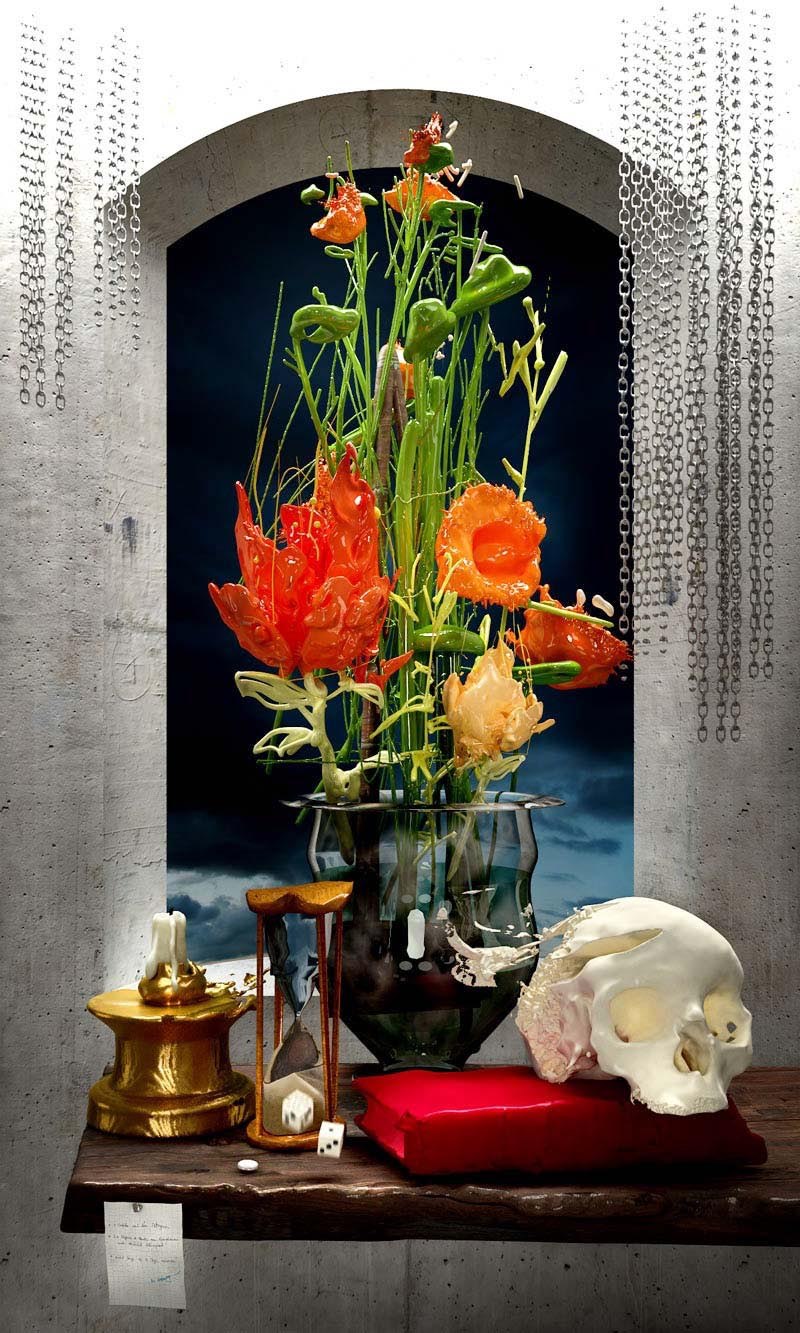 Vanitas Scull Flowers dice time hourglass candle 3D surrealistic