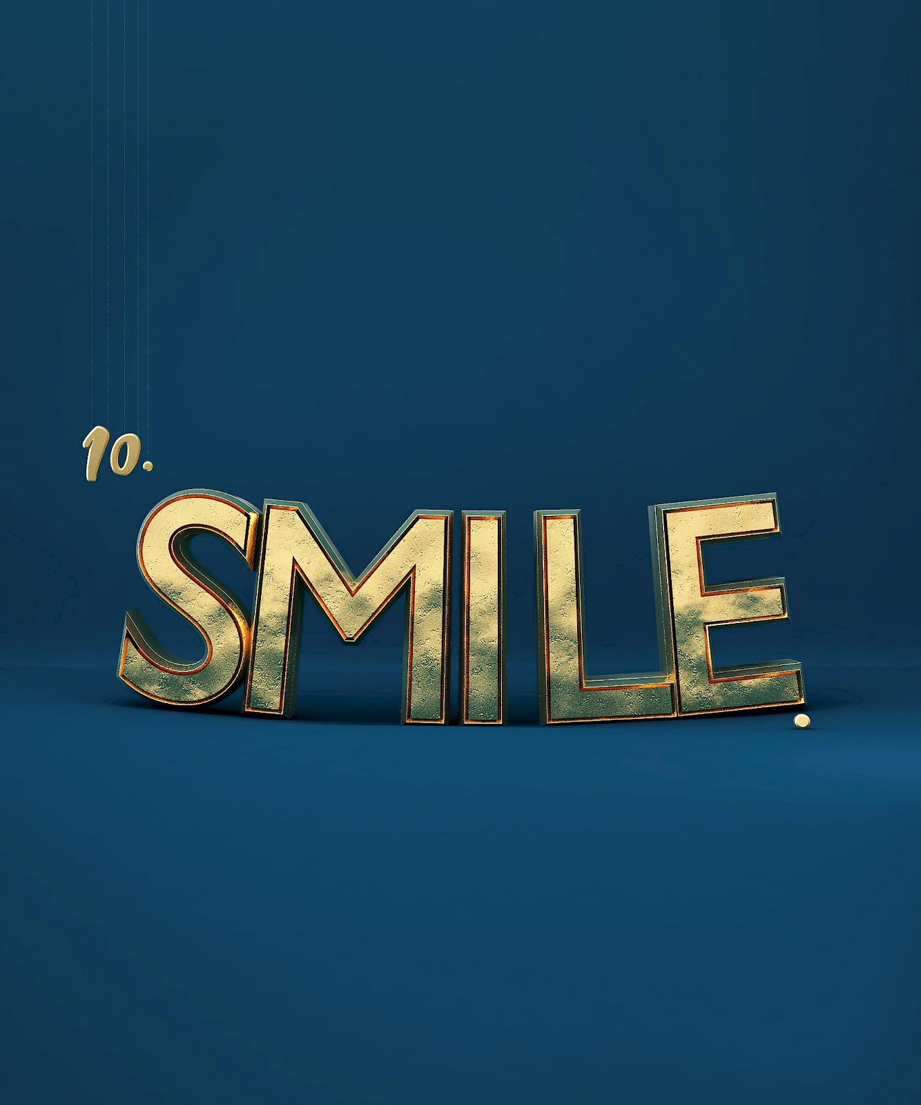 3D Typo Typography gold Lettering smile