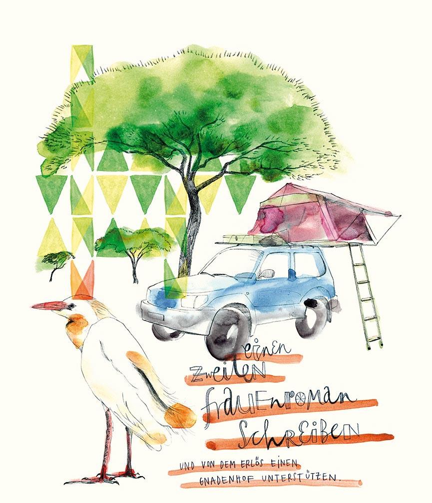 bird car tent tree