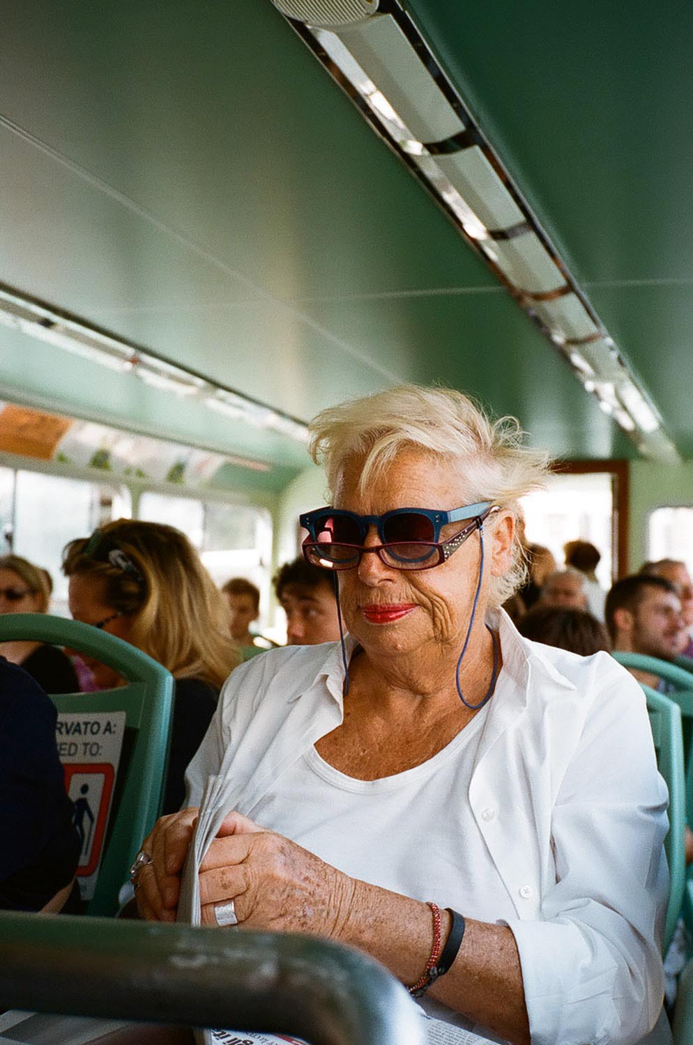 People woman senior glasses sunglasses bus