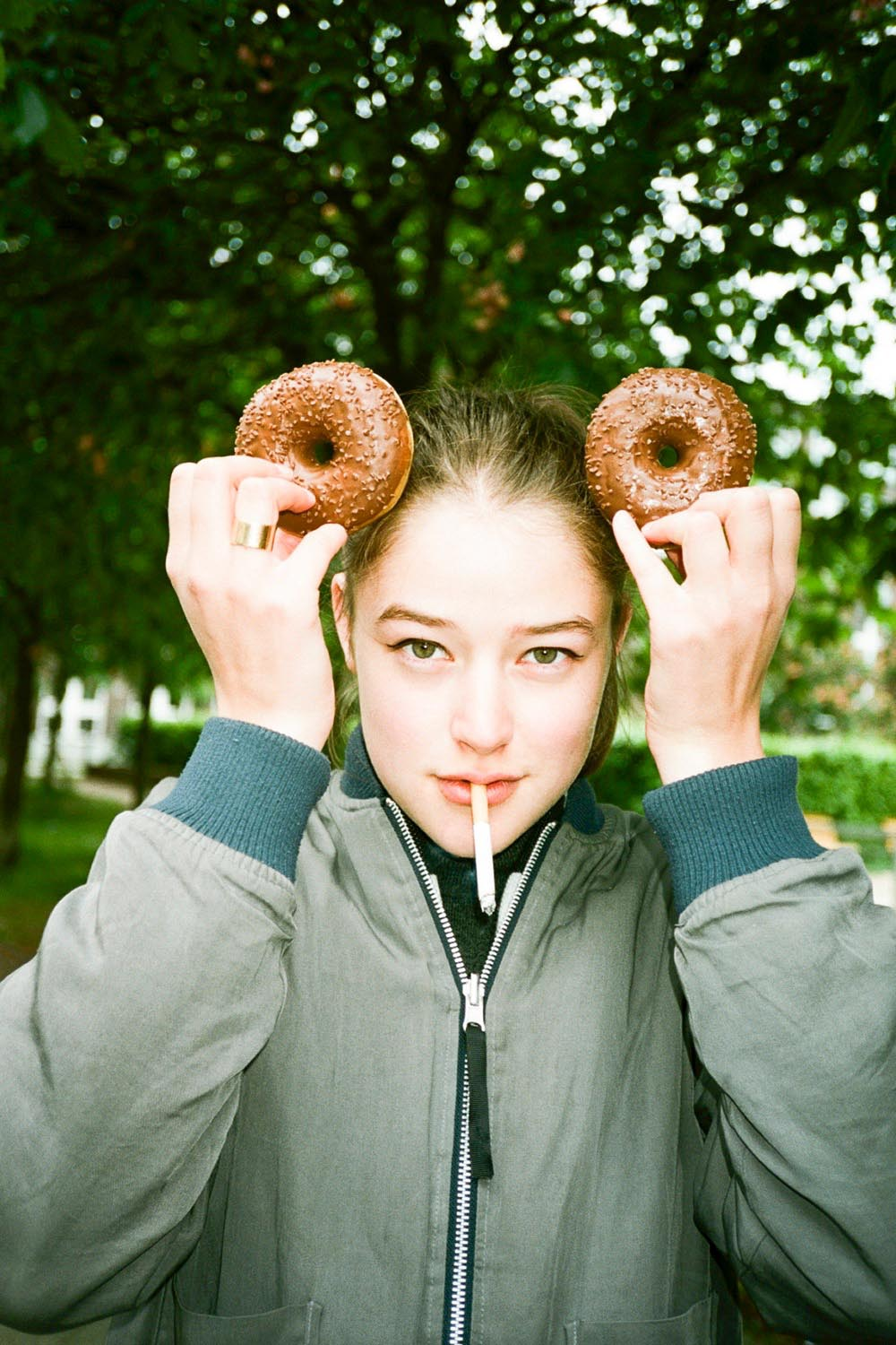portrait people woman women girl girls cigarette smoking donuts donut outdoor