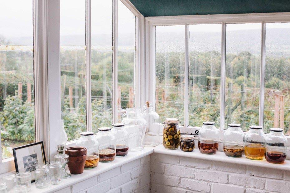 indoor interior kitchen pickles bottles glass garden window