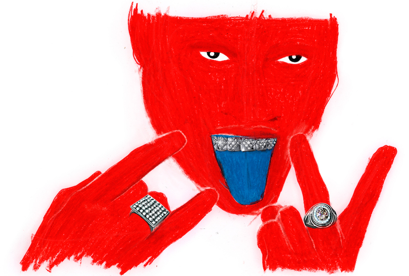 illustration illustrator collage mixed media jewels coloured pencil colored pencil red portrait blue tongue ring rings tooth teeth diamant hand hands finger portrait