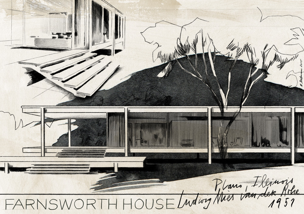 illustration illustrator building house fransworth black and white